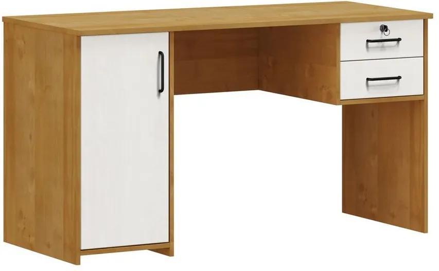 Escrivaninha 1 Porta 2 Gavetas Mirabell Carvalho e Branco - NS 47078