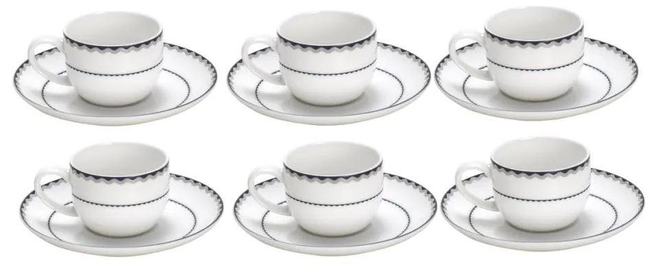 Jogo Xícaras Café Com Pires Porcelana 6 Peças Blue Silver Alto Relevo 85ml 25067 Wolff