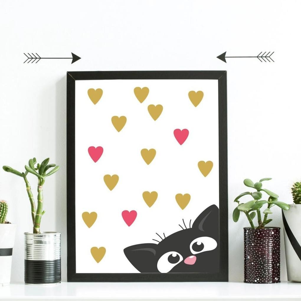 Quadro Decorativo Infantil Gatinho Love Preto - 20x30cm