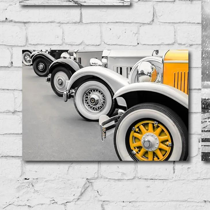 Placa MDF Foto Carro Antigo Amarelo 20x30cm