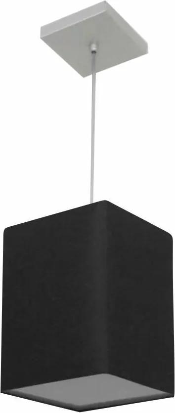 Lustre Pendente Quadrado Md-4007 Cúpula em Tecido 25/16x16cm Preto - Bivolt