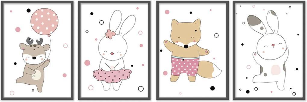 Quadro 40x120cm Infantil Animais Felizes Moldura Preta com Vidro Decorativo