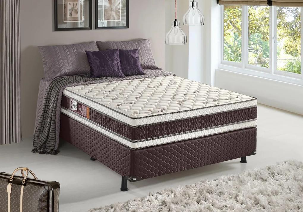 Conjunto Casal Espuma Pro Confort Stout D33 Marrom 138x188x67 Colchão + Cama Box