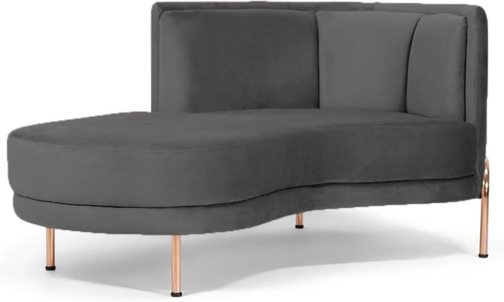 Sofá Chaise Longue Para Sala de Estar Ferrara Suede Cinza - Gran Belo