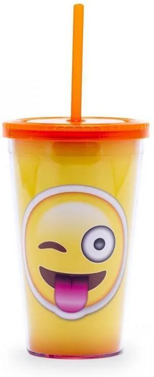 Copo com Canudo Emoji Lingua