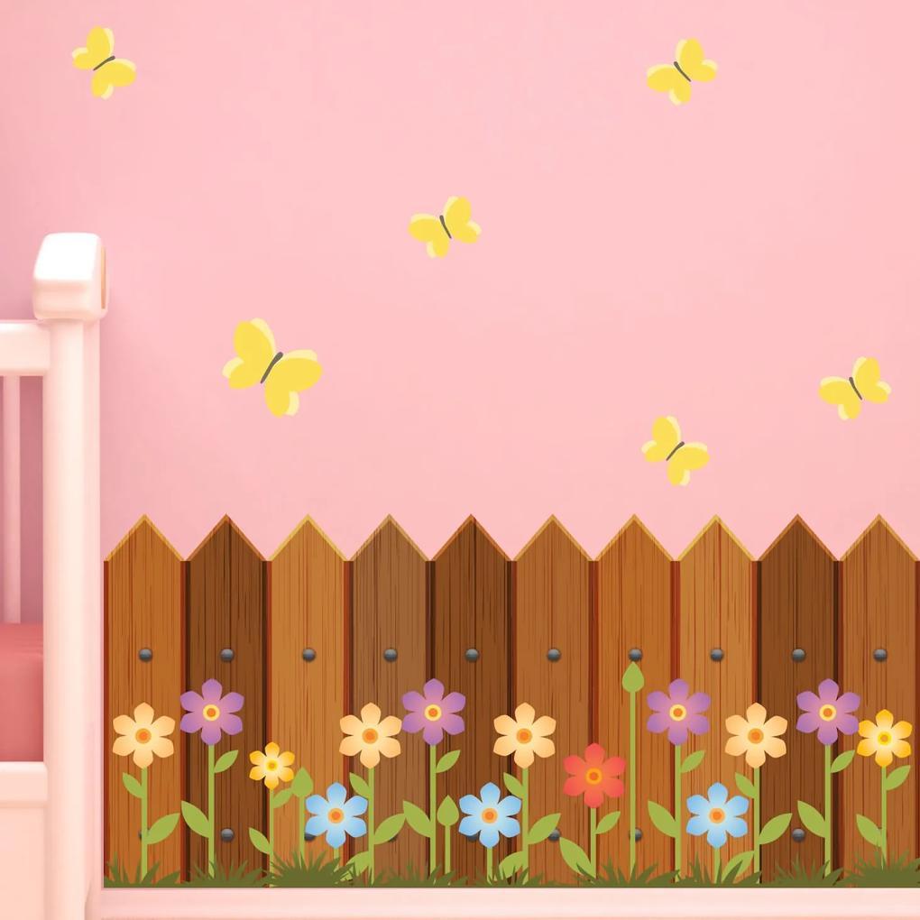 Adesivo de Parede Infantil Cerca de Madeira e Flores