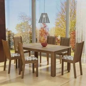 Conjunto Sala de Jantar Madesa Analu Mesa Tampo de Madeira com 6 Cadeiras Rustic/Floral Hibiscos Cor:Rustic/Floral Hibiscos