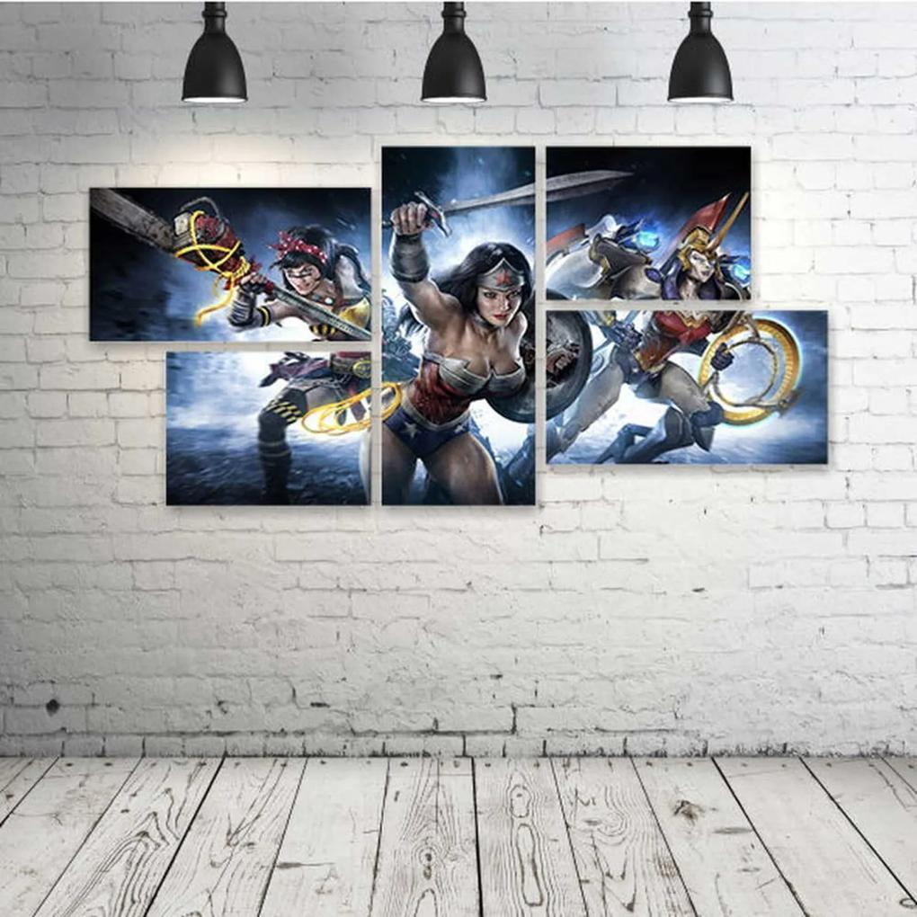 Quadro Decorativo - Wonder-Woman-Infinite-Crisis-Game-Comic - Composto de 5 Quadros