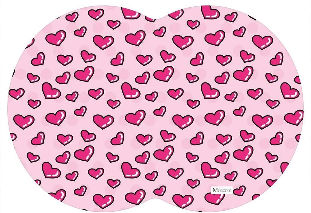 Tapete PET Mdecore Geométrico Coração Rosa54x39cm