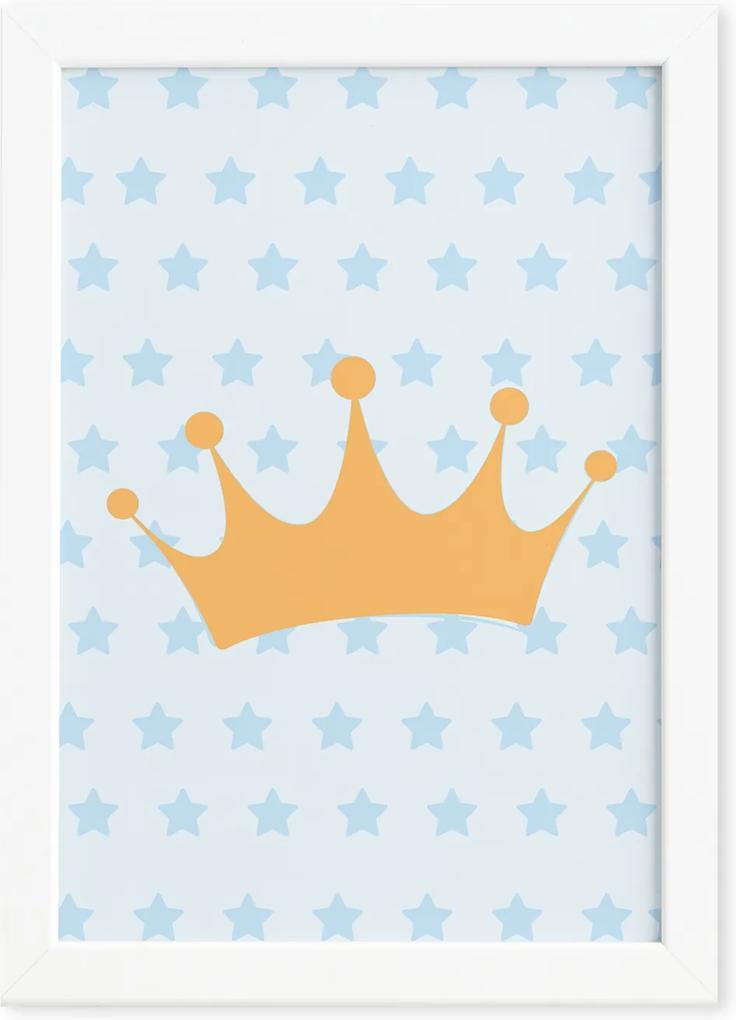 Quadro Ursinho Príncipe Coroa Moldura Branca 33x43cm