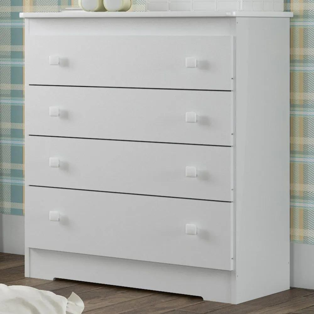 Cômoda de Bebê 4 Gavetas Bb 800 Branco - Completa Móveis - Completa Móveis