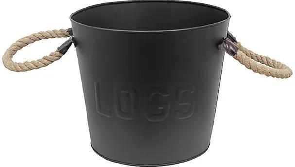 Balde para Lenha Logs Preto de Ferro