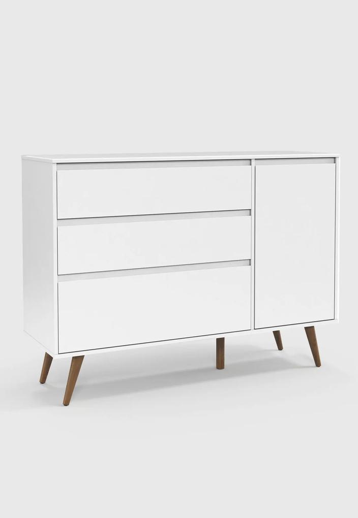 Cômoda Retrô Clean com porta Branco Soft / Eco Wood