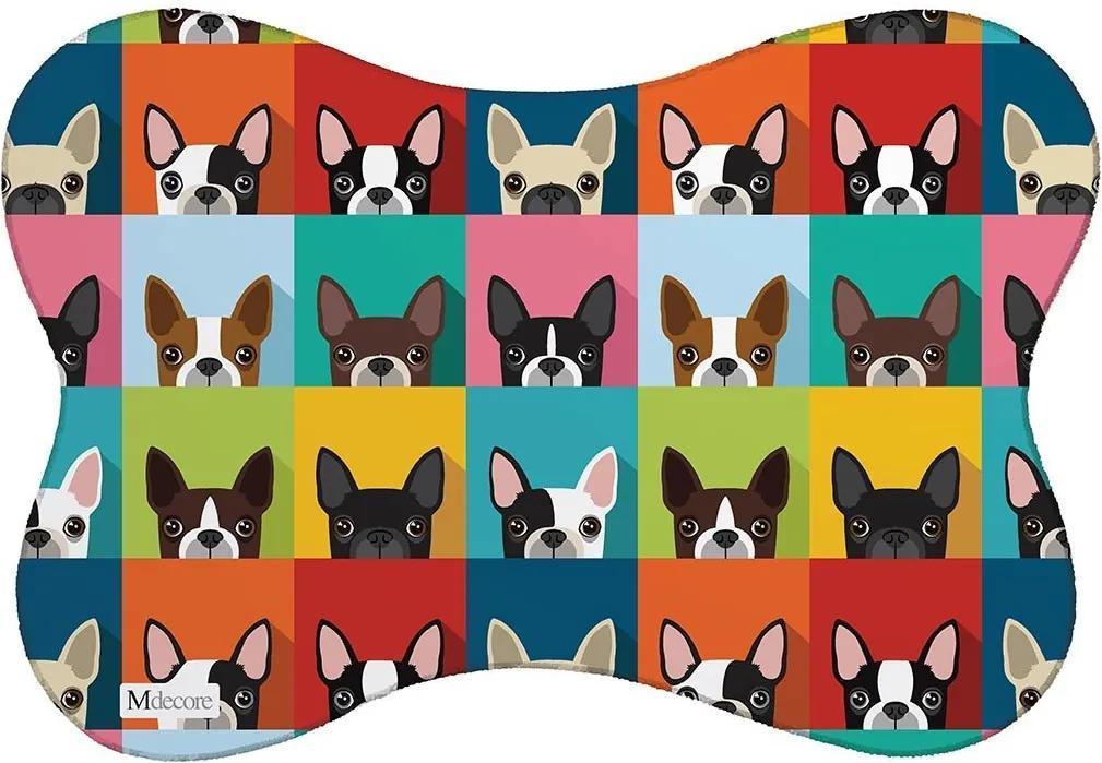 Tapete PET Mdecore Bulldog Colorido46x33cm