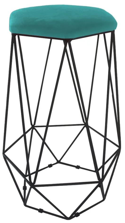 Puff Banqueta Aramado Eiffel Hexágono Preto Assento Suede Azul Tiffany