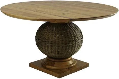 Mesa Estetino 160cm em Fibra Junco C/Tampo de Madeira Maciça