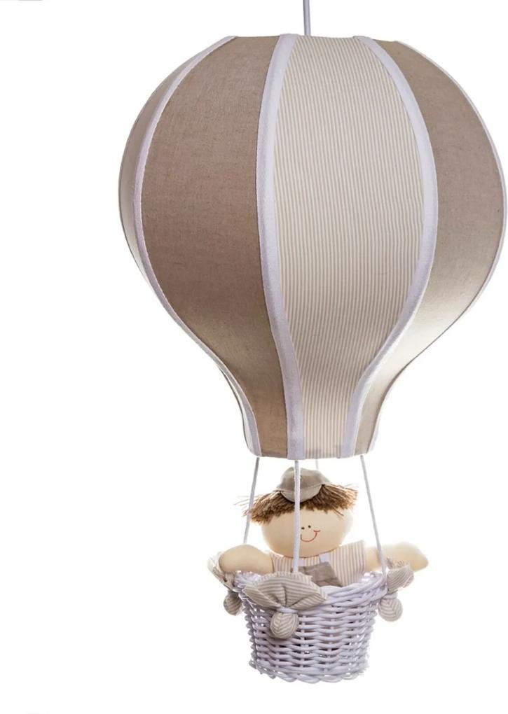 Lustre Balão Grande Com Boneco Bebê Infantil Menino Potinho de Mel Bege