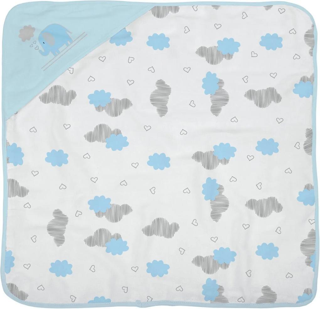 Toalha De Banho Bebê Era Uma Vez Plush 68X68cm Com Capuz E Forro Fralda Azul Claro