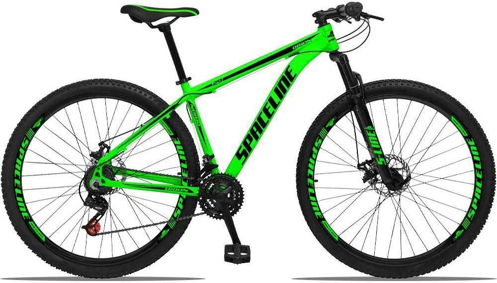 Bicicleta Aro 29 Quadro 17 Alumínio 21v com Suspensão e Freio Disco Orion Verde/Preto - Spaceline