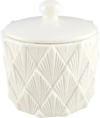 Pote de Cerâmica com Tampa Branco Texturizado