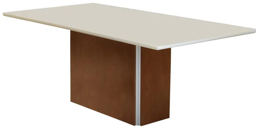 Mesa para Sala De Jantar Jade 2,08 m Tampo Vidro Off White