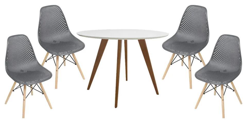 Conjunto Mesa Square Redonda Branco Fosco 88cm + 4 Cadeiras Eames Colméia Preta Base Madeira