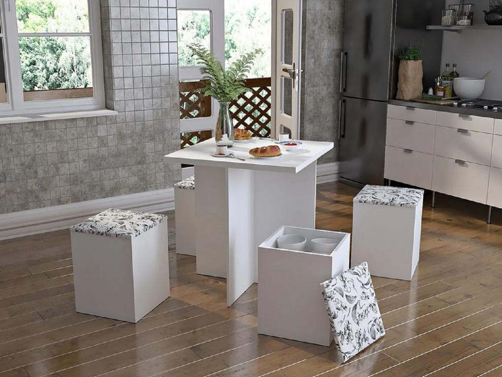 Conjunto Mesa de Jantar 120110 Branco/Damasco - Appunto