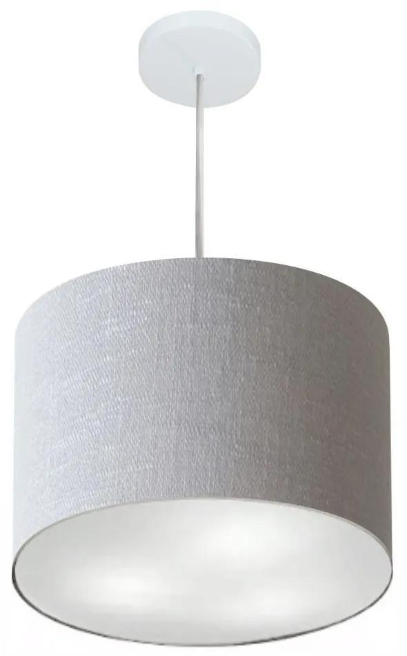 Lustre Pendente Cilíndrico Md-4216 Cúpula em Tecido 40x30cm Rustico Cinza - Bivolt