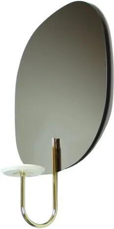 Espelho Vogue Prata 4mm com Apoio Vaso Laca Branca 40 cm (LARG) - 48818 Sun House