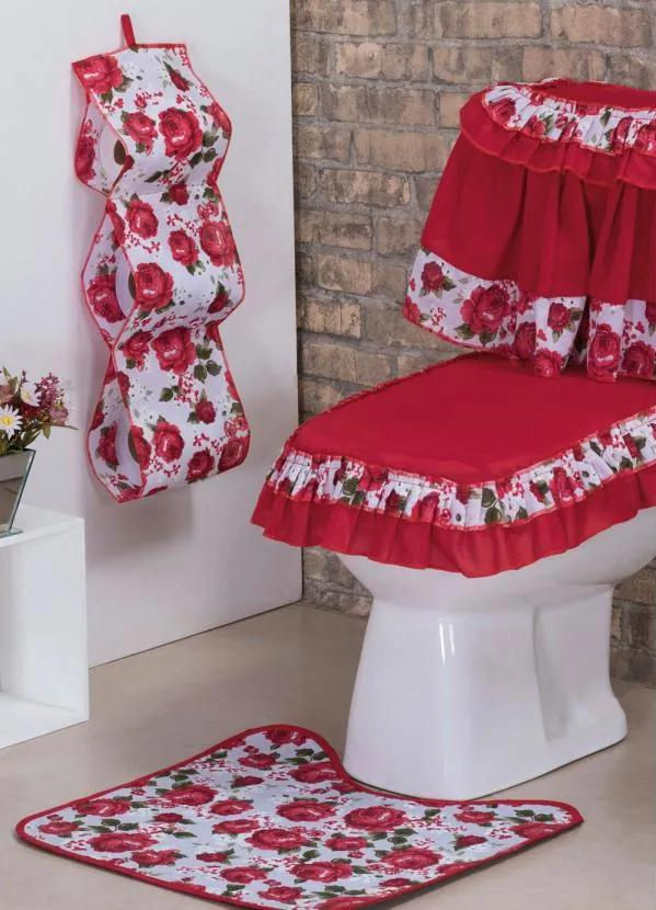Jogo de Banheiro Ciganinha Vermelha 4 Peças