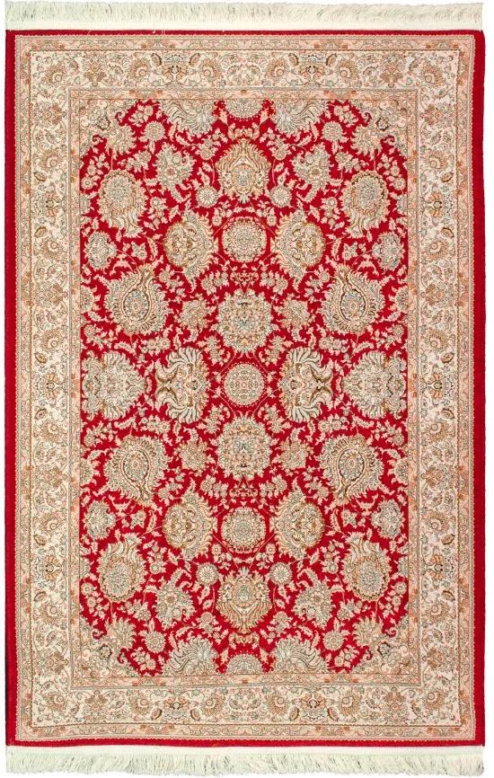 Tapete Iraniano Aubussoni Vermelho com Detalhes Bege - 120x75cm