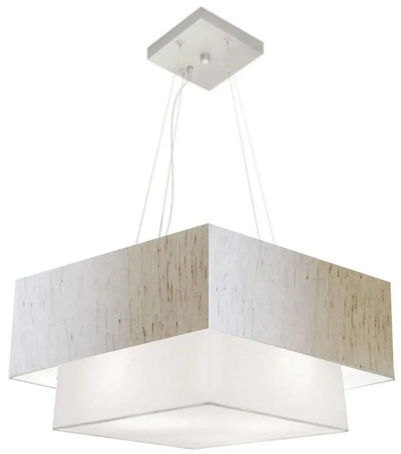 Lustre Pendente Duplo Quadrado Vivare Md-4066 Cúpula em Tecido 50x35cm Linho Bege / Branco - Bivolt