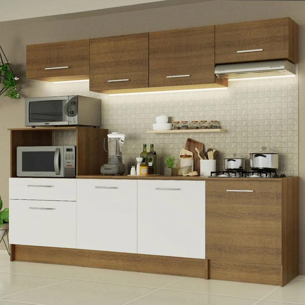 Cozinha Completa Madesa Onix 240003 com Armário e Balcão - Rustic/Branco 5Z6E Marrom