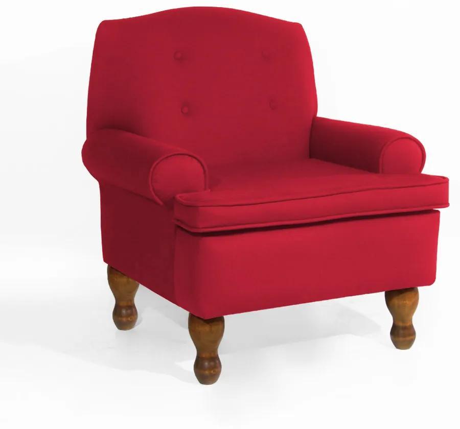Poltrona da Vovó Lucy Decorativa Luxo Suede Vermelho