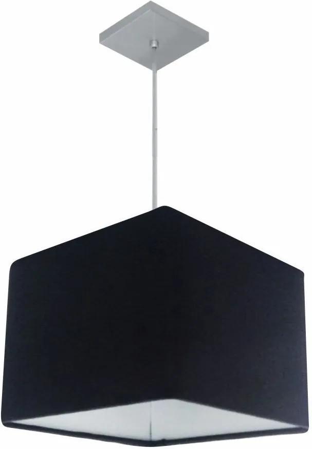 Lustre Pendente Quadrado Md-4059 Cúpula em Tecido 21/35x35cm Preto - Bivolt