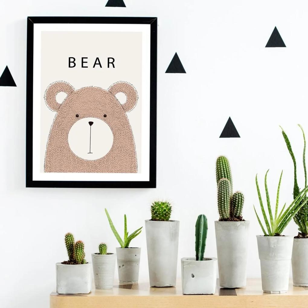 Quadro Decorativo Infantil Baby Bear Preto - 30x40cm