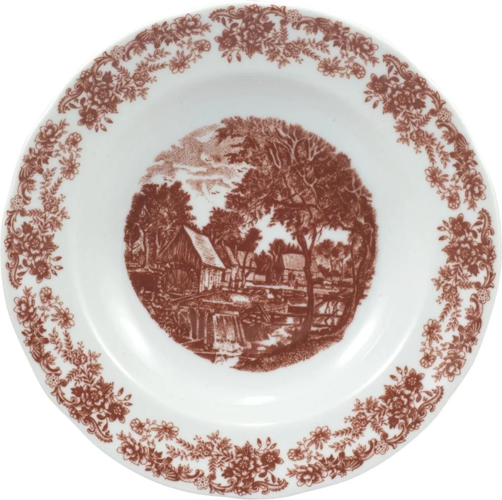 Prato Fundo 23 cm Porcelana Schmidt - Dec. Paisagem Marrom