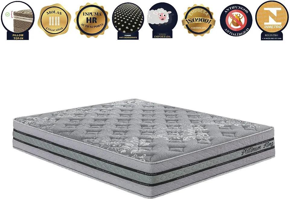 Colchão De Molas Ensacadas - Tamanho Casal Platinum King Prata - Pilow Top-in Com Espumas Progressivas - 138x188x30 - King Konfort