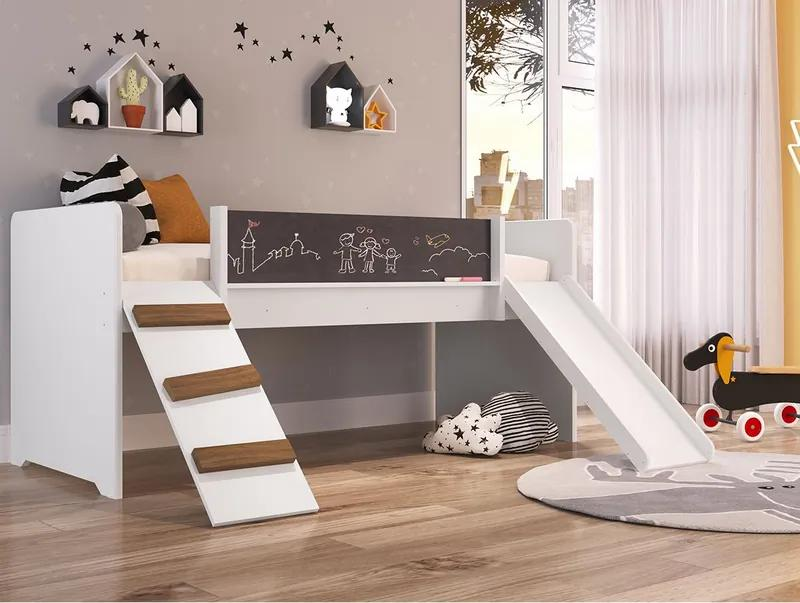 Cama Playground C/ Escorregador e Rampa BY710 - Branco