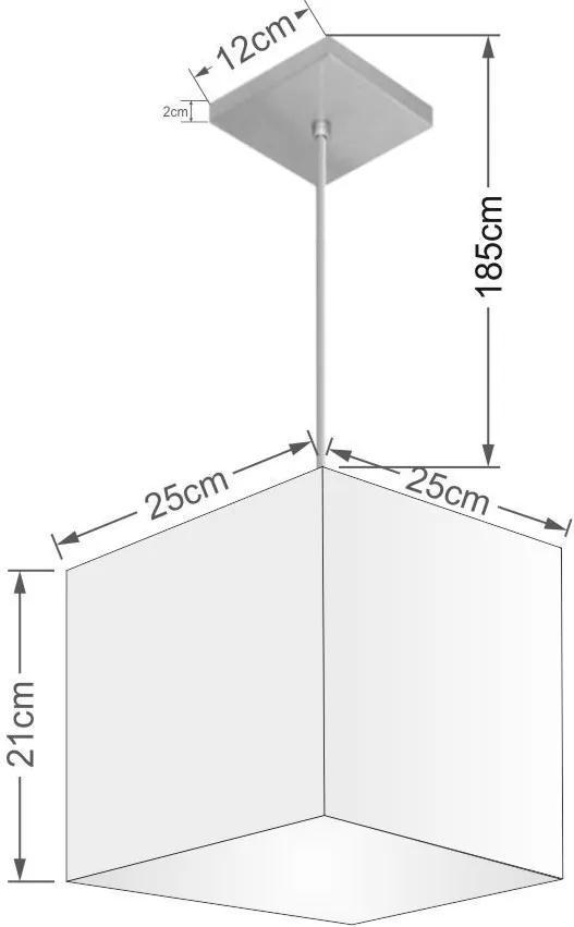 Lustre Pendente Quadrado Md-4058 Cúpula Tecido 21/25x25cm Preto