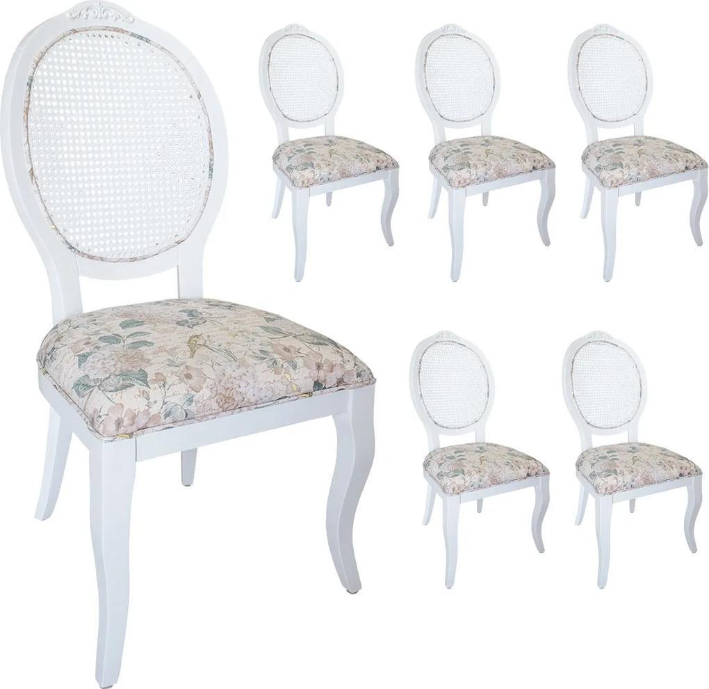 Jogo 6 Cadeiras Medalhão Lille Palha - Branco - Tecido Floral Aurora  Kleiner Schein