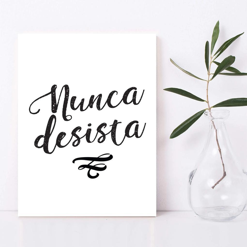 Placa Decorativa Frases de Motivação Nunca Desista 20x30cm