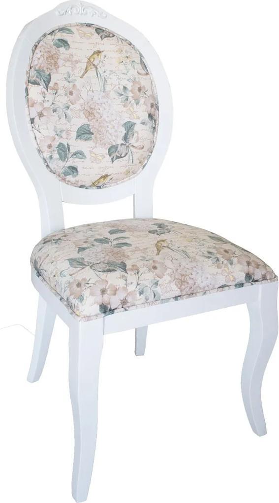 Cadeira Medalhão Lille - Branco - Tecido Floral Aurora  Kleiner Schein