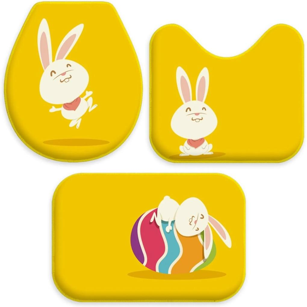 Jogo Tapetes Love Decor para Banheiro Feliz Páscoa Amarelo Único