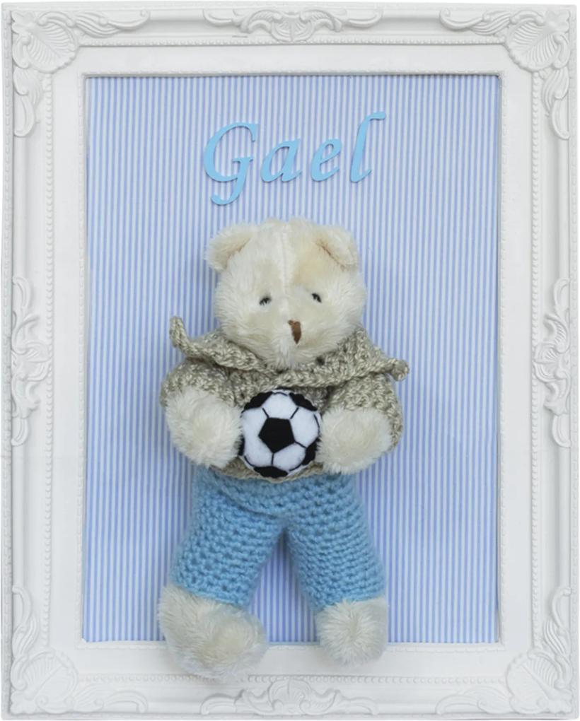 Porta Maternidade Quadro Urso Bege Roupa de Crochê e Bola de Futebol Quarto Bebê Infantil Menino Azul Potinho de Mel