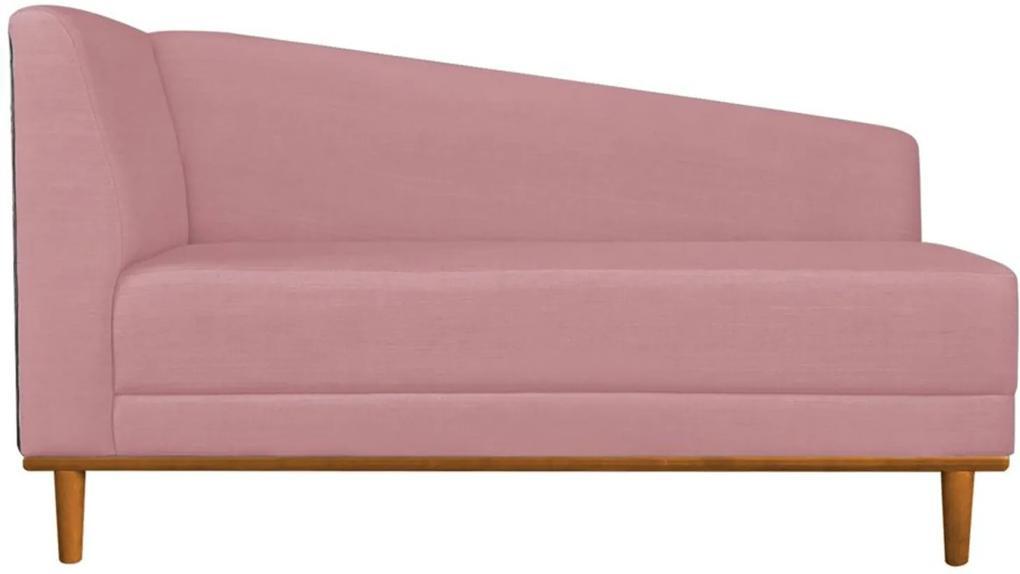 Recamier Monet Composê Sintético Marrom com Linho A63 Rosa Base de Madeira - D'Rossi