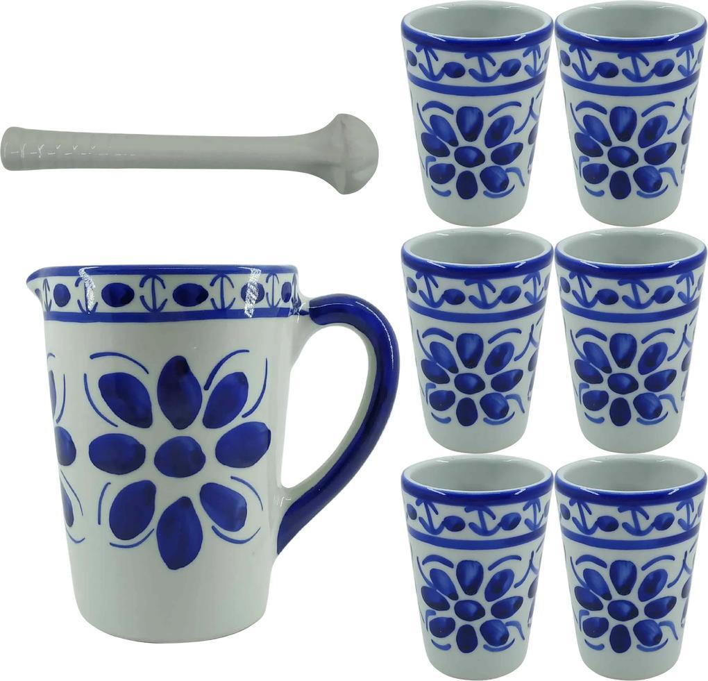 Kit Caipirinha em Porcelana Azul Colonial 8 peças