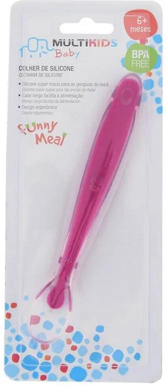 Colher de Silicone Funny Meal - Rosa - Multikids Baby