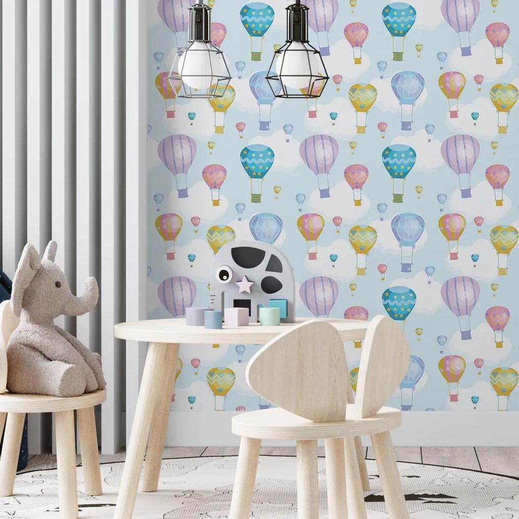 Papel de parede adesivo infantil nuvens e balões