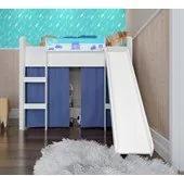 Cama Infantil Branco Azul Elevada com Escorregador Completa Móveis